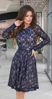 Гипюровое платье с ремешком № 3914,синее