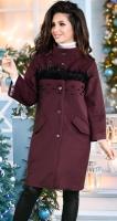 Модное кашемировое пальто с перьями и жемчугом