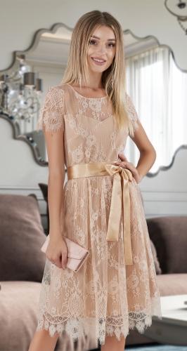 Нарядное платье из французского кружева № 38384