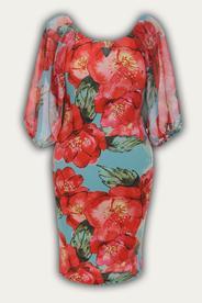 Платье № 864   коралл бирюза