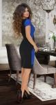 Асимметричное стильное платье  № 3423,ярко синее