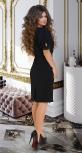 Короткое чёрное платье с пышными рукавами и кружевом № 282