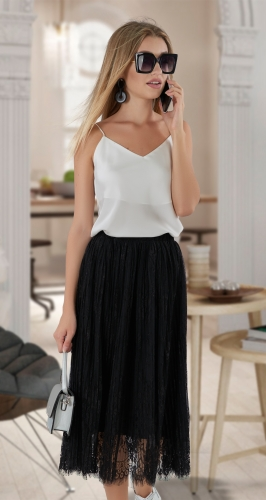 Гипюровая юбка плиссе № 4113 ,чёрная