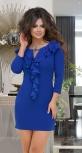 Платье с воланами № 31232,ярко синее
