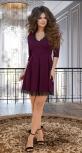 Красивое бордовое платье с кружевом № 3595