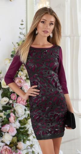 Короткое платье с эко-кожей № 3524 , бордо