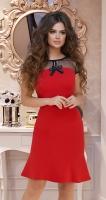 Платье с воланчиком и красивым лифом № 3598,красное