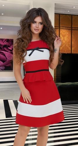 Контрастный красно-белый костюм № 3393
