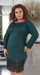 Свободное платье с эко-кожей № 35311