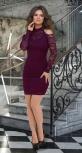Короткое гипюровое платье с открытыми плечиками № 3635,марсала