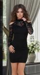 Короткое гипюровое платье с открытыми плечиками № 3635,чёрное