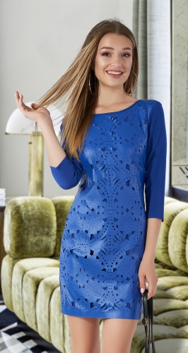 Платье с эко-кожей № 31572