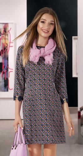 Свободное платье в мелкий принт № 1109