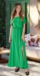 Длинное платье с открытыми плечиками № 3149,  ярко зелёное
