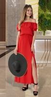 Длинное платье с открытыми плечиками № 3149, красное