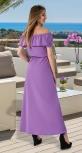 Длинное платье с открытыми плечиками № 3149,лавандовое