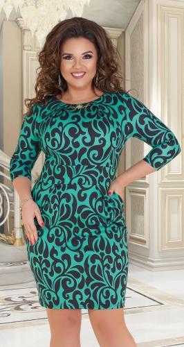 Красивое короткое платье № 11631,зелёное