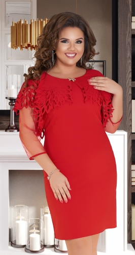 Красивое короткое платье с ажурным лифом № 340431,красное