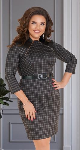 Стильное короткое платье в клетку № 34651,серо-бежевое