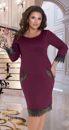 Красивое и комфортное платье № 34821,марсала