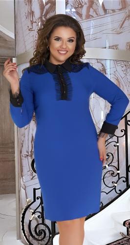 Прямое короткое платье с воротничком № 36501,ярко синее