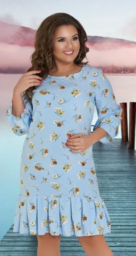 Лёгкое свободное платье № 36961,голубое