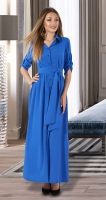 Длинное платье-рубашка № 3130 , ярко синее