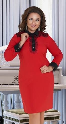 Прямое короткое платье с воротничком № 36501,красное