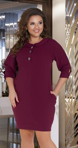 Удобное платье  с воротничком и карманами № 344731,бордовое
