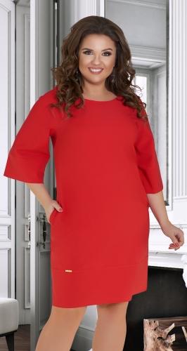Лаконичное  платье с красивой спинкой № 34511,красное