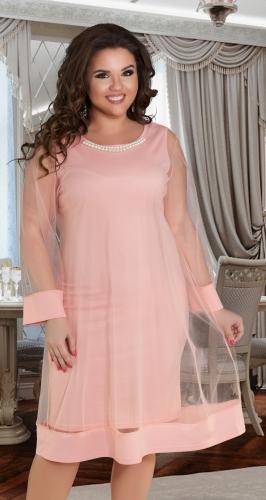 Эффектное  платье цвета пудра № 38171
