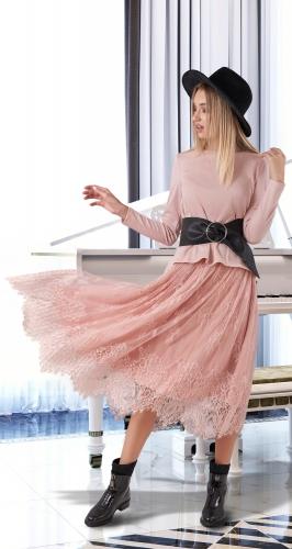 Гипюровая юбка плиссе № 4113 ,пудровая