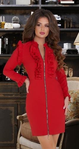 Эффектное красное платье на змейке № 3449