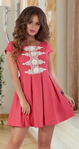 Короткое платье с дорогим кружевом № 30704