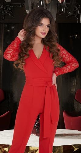 Комбинезон красный с рукавами из полуматовой сеточки с вышивкой № 38873