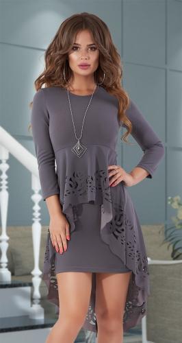 Красивое платье со шлейфом № 30673,графитное