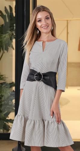 Платье с оборкой в полоску № 4091