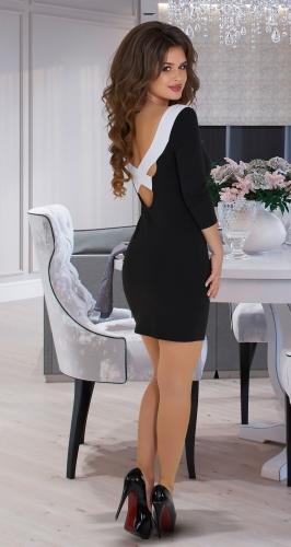 Короткое чёрно-белое платье № 34063