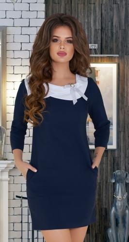 Синее платье с белым воротничком № 33853