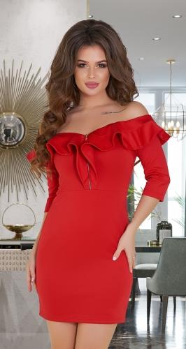 Короткое красное платье с открытыми плечиками № 3436