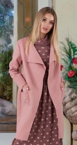 Лёгкое пальто в пудровом цвете № 3617