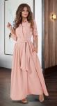 Длинное платье-рубашка № 3130 , пудровое