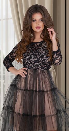 Нежное и стильное чёрное платье № 3878