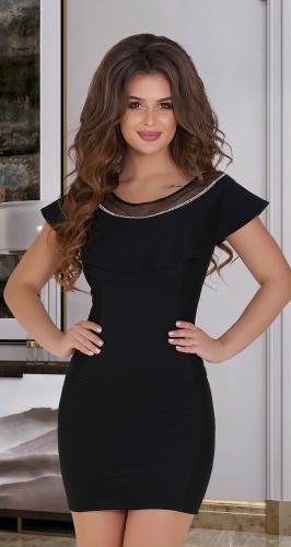 Чёрное платье из фактурной ткани № 3300