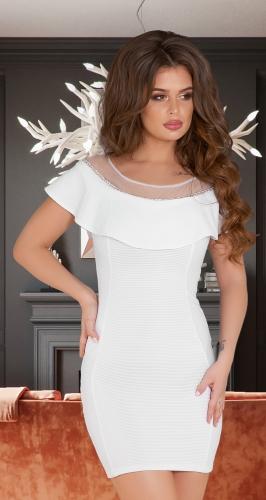 Белое платье из фактурной ткани № 3300