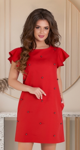 Свободное красное платье с жемчужинами № 36653
