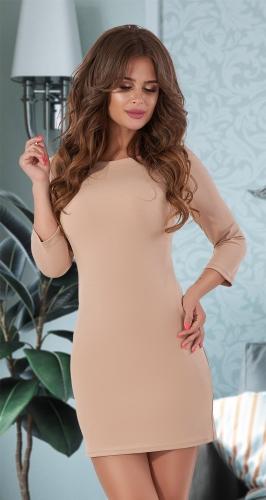 Красивое короткое платье № 3590 , беж
