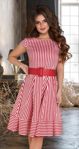 Платье в полоску № 3958,красное