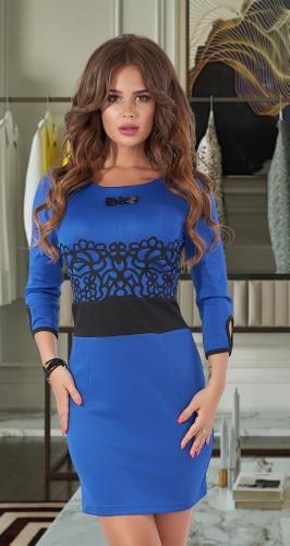 Короткое платье с ажуром на талии № 1150 ,ярко синее