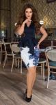 Сине-белый красивый юбочный костюм № 3305